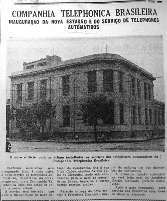 Recorte a A Tribuna, em 13 de janeiro, mostrando o novo edifício da Companhia Telefônica Brasileira, na esquina da Júlio de Mesquita e Bráz Cubas.