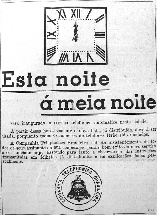 Anúncio publicado no jornal A Tribuna, em 13 de janeiro de 1934