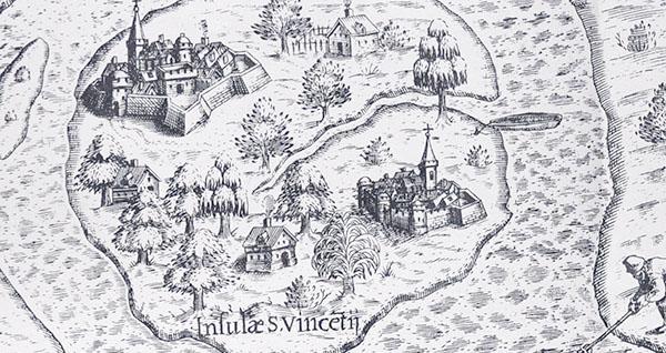 Detalhe da imagem acima, mostra duas cidadelas medievais. A da esquerda, maior, seria a equivalente à Vila de Santos.