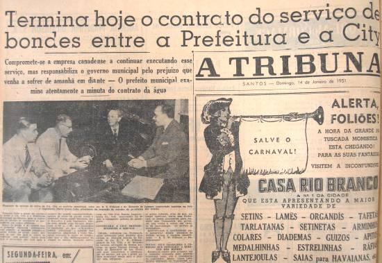 Manchete de A Tribuna em 14 de janeiro de 1951, anunciando o fim da concessão da City no transporte público.