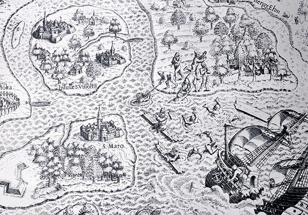 Uma das ilustrações de Theodore de Bry mostra um naufrágio que teria acontecido na costa sul paulista, nas proximidades da saída da Baía de Santos. Na imagem, os náufragos conseguem chegar à terra, no trecho onde hoje situa-se a Praia Grande. Note que há um erro de posicionamento. No alto da imagem é possível ler ItengeEhm (Itanhaém) e na lateral esquerda, Brikioka (Bertioga). Ou seja, num conceito de norte no alto, Itanhaém estaria no litoral norte e Bertioga no sul. Note-se também as legendas S.Maro (Ilha de Santo Amaro, Guarujá) e Insulae S. Vicenti (Ilha de São Vicente), onde estão São Vicente e Santos.