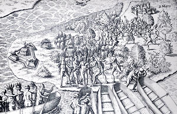 Cena de guerra entre índios e colonos.