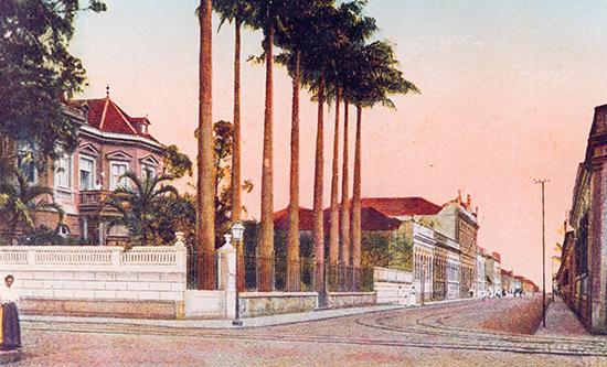 Palacete Aranha, na Conselheiro Nébias , 41, esquina com General Câmara.