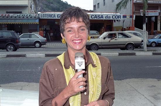 Cristina Guedes foi a primeira repórter da emissora, ao lado de Eduardo Silva e Paulo Bornsen.