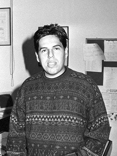 Este blogueiro, em 1992, na redação da TV Tribuna, integrante da primeira equipe de telejornalismo da emissora.
