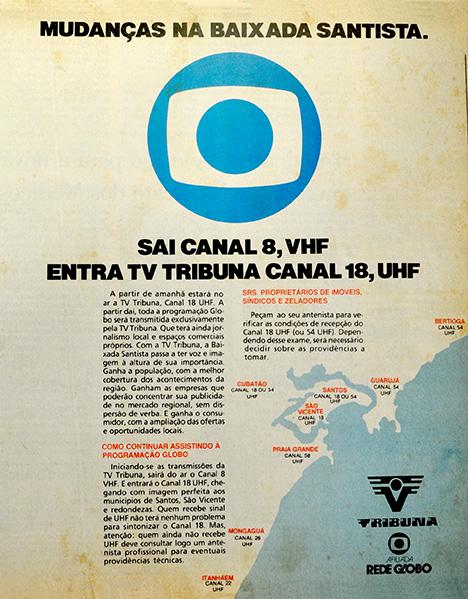 Chegada da TV Tribuna abriu as portas para a popularização do UHF na região