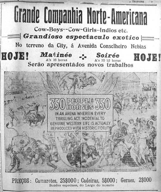 Anúncio do Espetáculo no jornal A Tribuna, em 8 de fevereiro de 1914. População criou grande espectativa em torno da novidade.