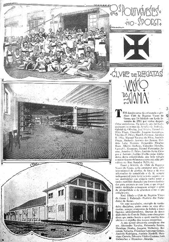 """Página retirada do Álbum da Colônia Portuguesa, editado em 1929, quando o Vasco da Gama de Santos já se apresentava como um celeiro de """"craques"""" do remo."""