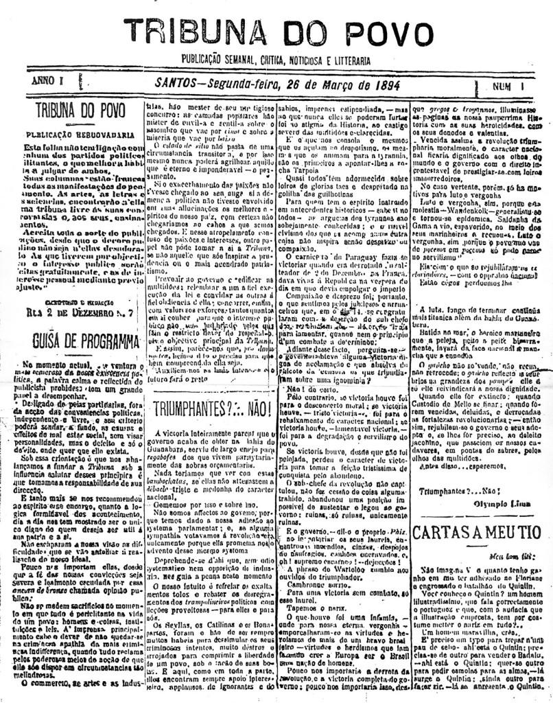 Primeira edição do Jornal Tribuna do Povo, de 26 de março de 1894.