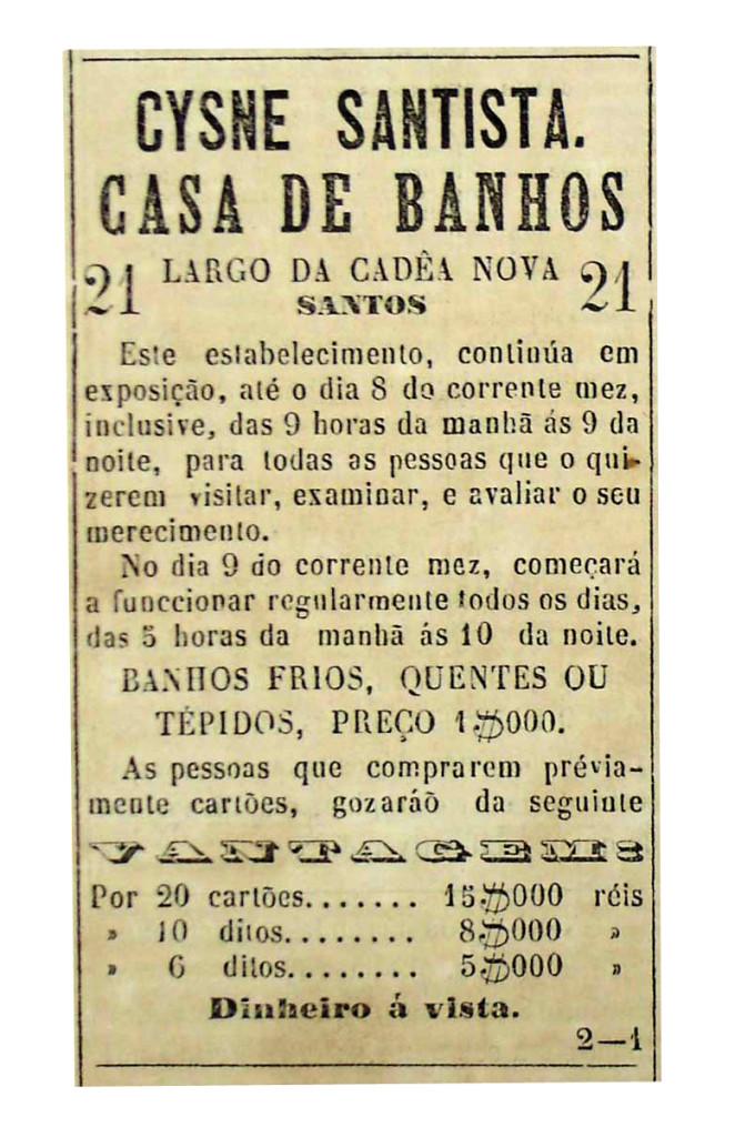 Anúncio da primeira casa de banhos da cidade.