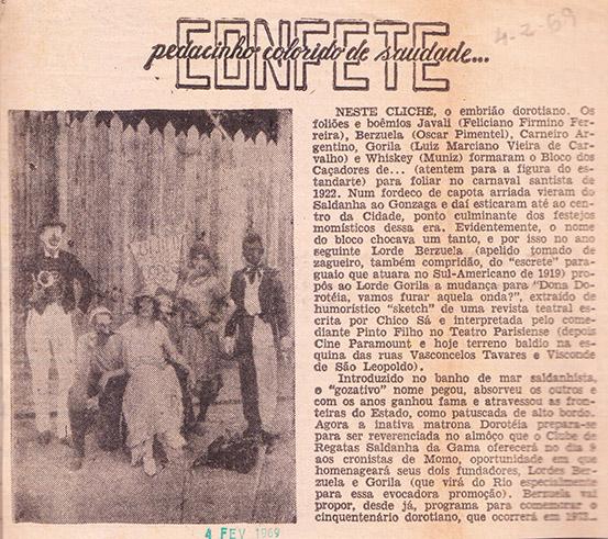 """Coluna """"Confete, pedacinho colorido de Saudade"""", publicado nos anos 1960."""