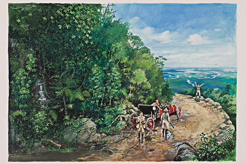 Imagem ilustrativa sobre a primeira viagem de automóvel entre Santos e São Paulo, ocorrida entre 16 e 17 de abril de 1908. De autoria do artista Gilberto Marchi, foi capa do livro Pelas Curvas das Estradas de Santos, do escritor Sergio Willians