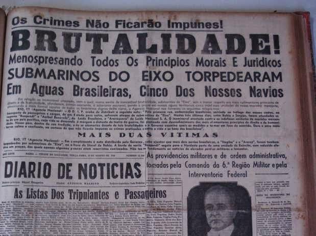 Jornais da época estampavam em suas primeiras páginas, indignados, os ataques nazistas contra os navios mercantes brasileiros.