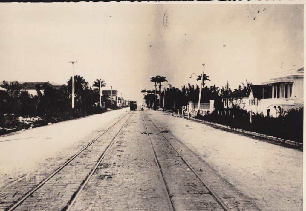 A avenida Conselheiro Nébias no começo do século XX. Início da ocupação por casas.