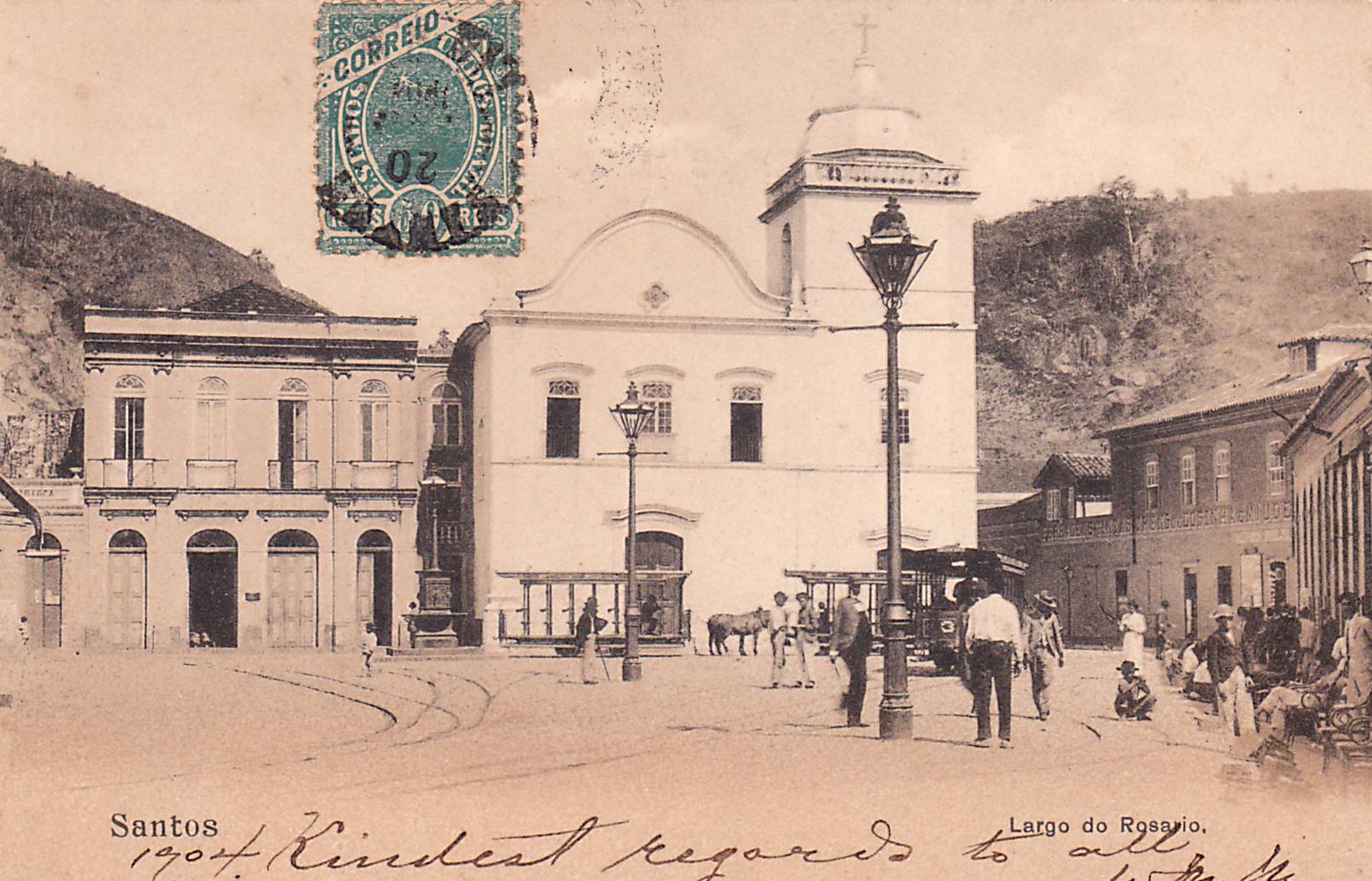 Largo do Rosário com os carris a burro ao fundo.