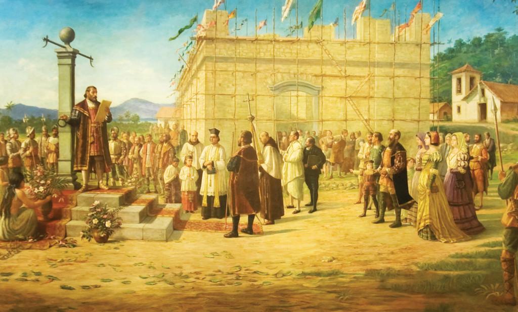 Braz Cubas lê o Foral da Vila de Santos defronte ao pelourinho, símbolo da liberdade e autonomia santista.