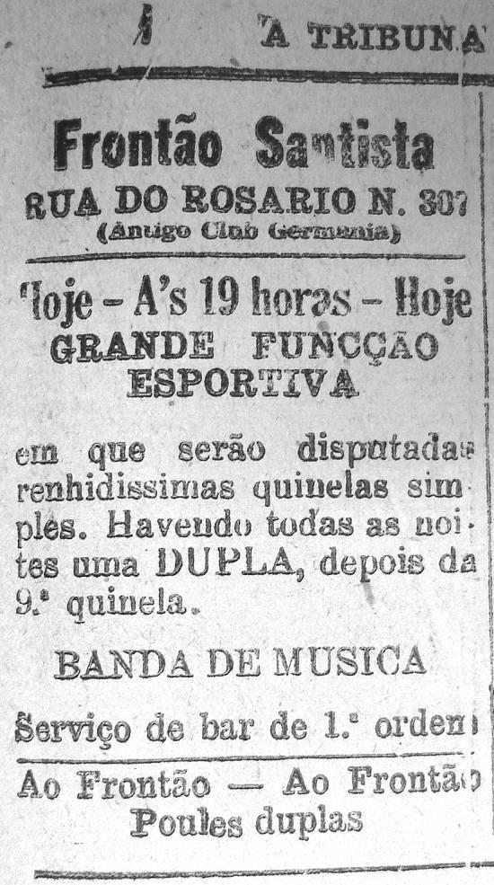 Anúncio publicado em A Tribuna em 26 de junho de 1922