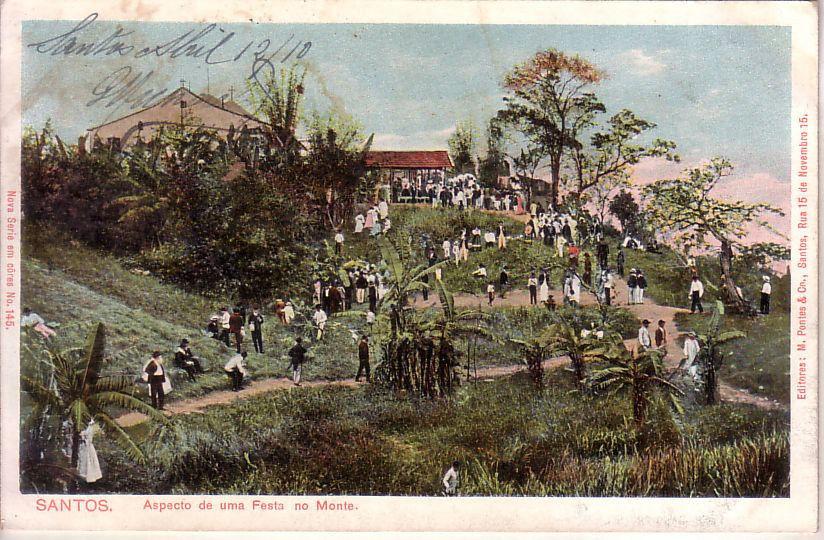 Postal mostrando as festas da padroeira de Santos