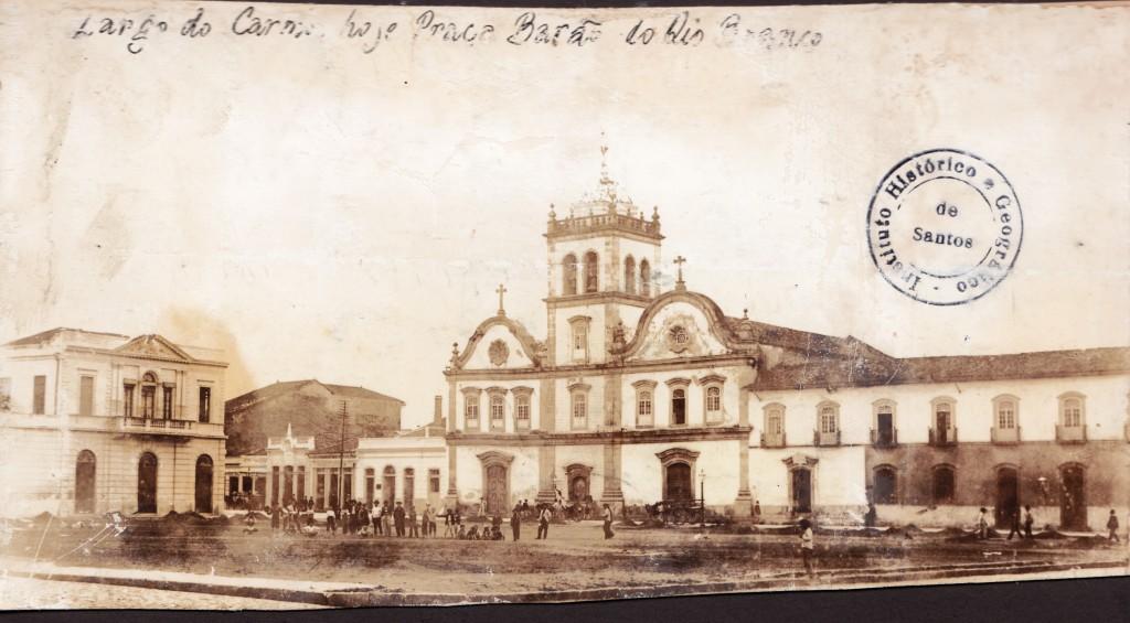 Conjunto do Carmo, na década de 1880. Estruturas mais antigas de Santos, datada do final da década de 1580.