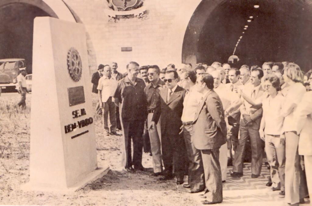 Inauguração de Elevado Aristides Bastos Machado, em 1976, com a presença do prefeito Antônio Manoel de Carvalho.