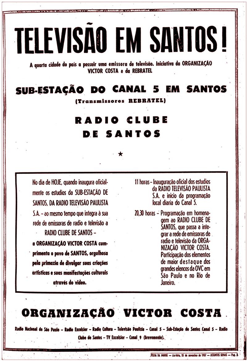Anúncio sobre a inauguração da TV Santos, a primeira emissora regional do Brasil.