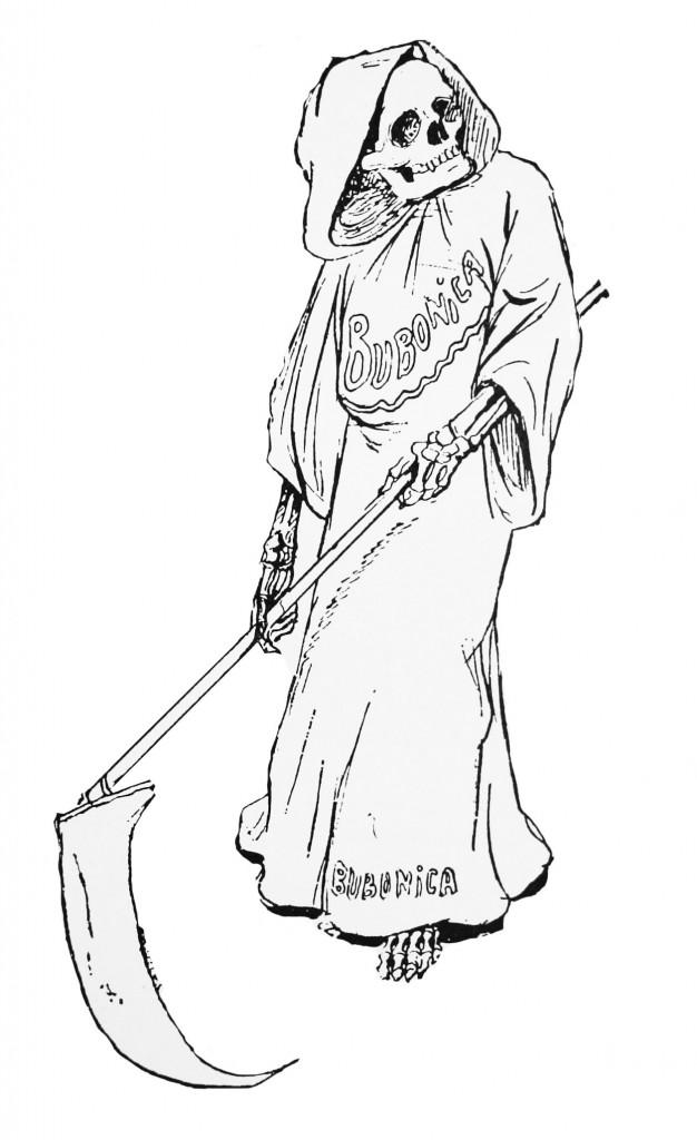 Charge dos jornais assustavam a todos. A peste bubônica era representada pela figura da morte.