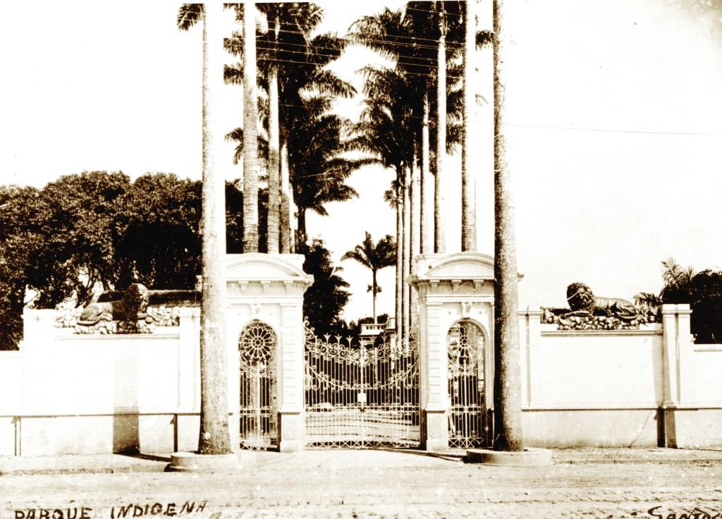 A entrada principal do Parque Indígena ficava na Conselheiro Nébias. No pórtico, duas estátuas de leões guardavam a entrada. Uma delas está até hoje preservada, na entrada do Estádio do Jabaquara.