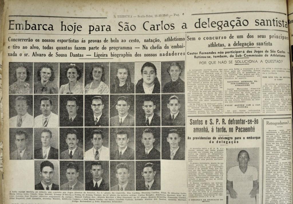 Manchete de A Tribuna sobre o embarque dos atletas de Santos.