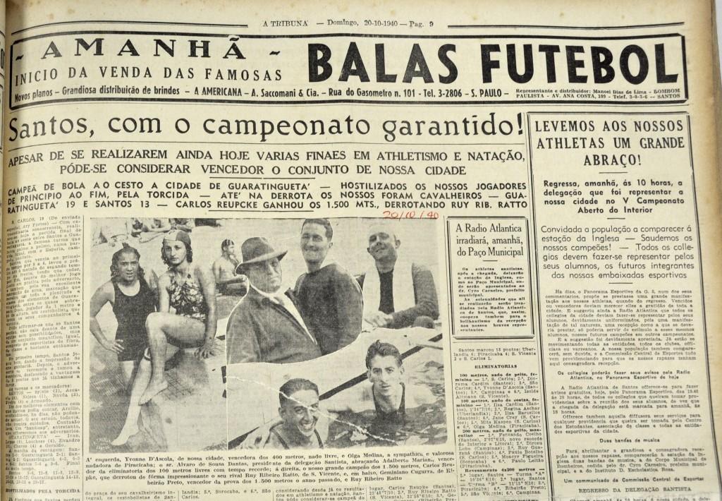 Manchete destacando a vitória santista nos Jogos de 1940.