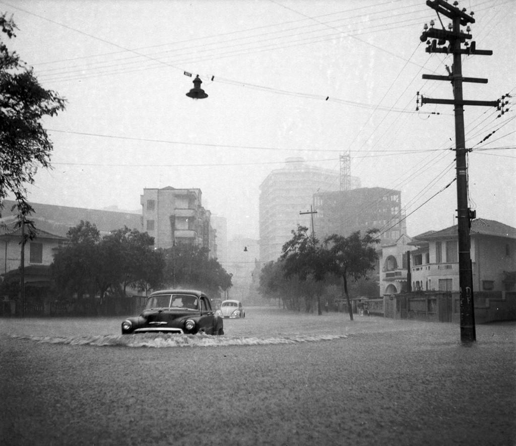 A cidade ficou literalmente debaixo d'água naquele 1º de maio de 1956