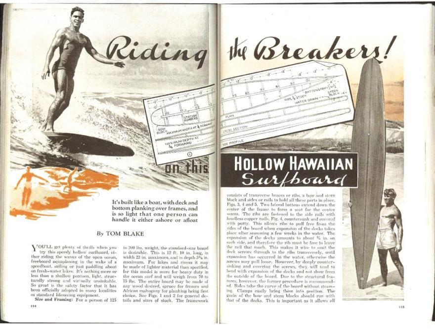 Artigo da revista Popular Mechanics que trata da prancha projetada por Tom Blake. Matéria deu origem ao surfe no Brasil.