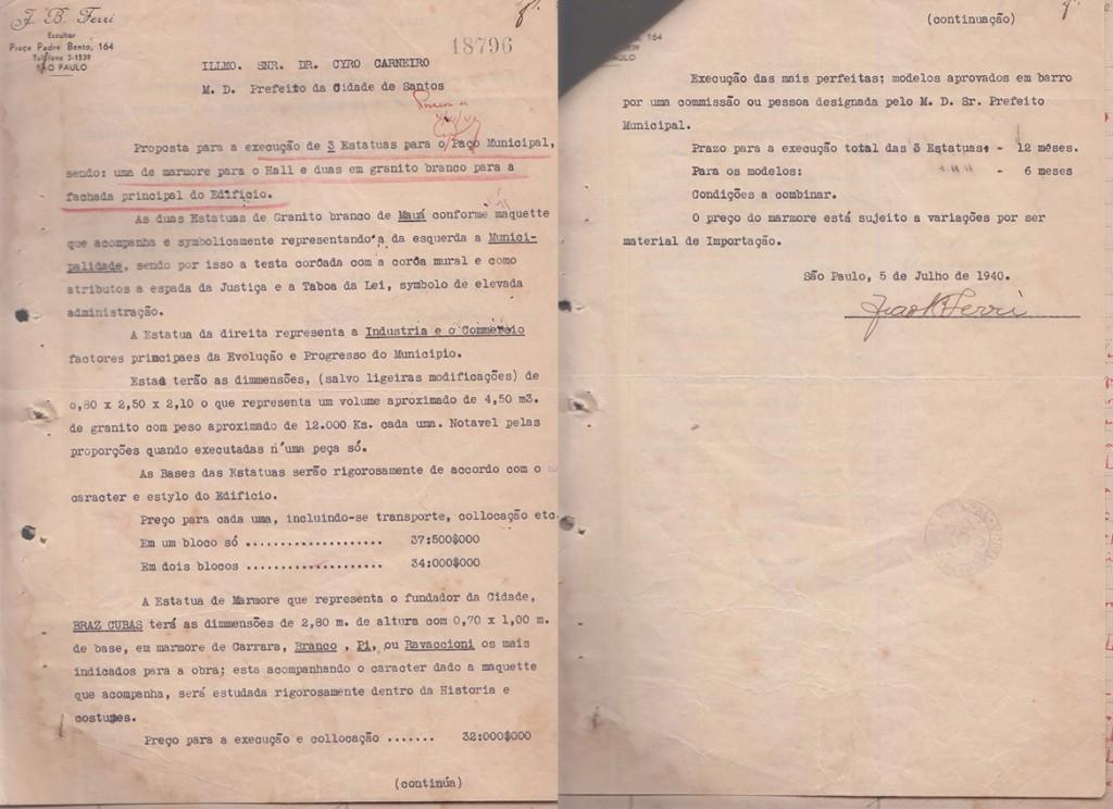 Carta inicial de João Batista Ferri, oferecendo seus préstimos para a Prefeitura de Santos.