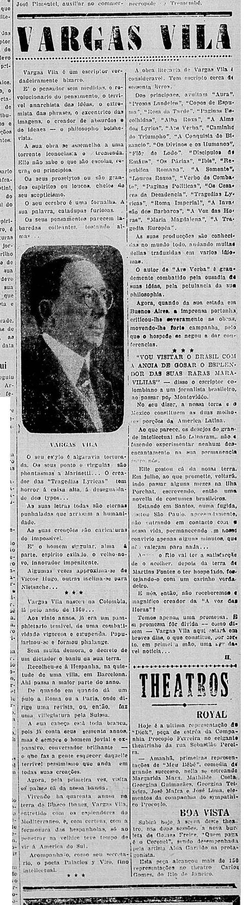 Matéria sobre a passagem de Vargas Vila em Santos, publicada no dia 20 de março de 1924.
