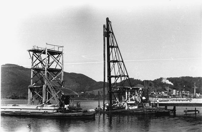 Obras do novo trampolim, na década de 1940.