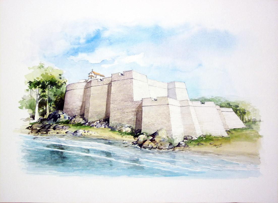 Concepção artística produzia para o Instituto Histórico e Geográfico de Santos pelo artista Gilberto Marchi, baseado nas plantas do Brigadeiro Jean Massé.