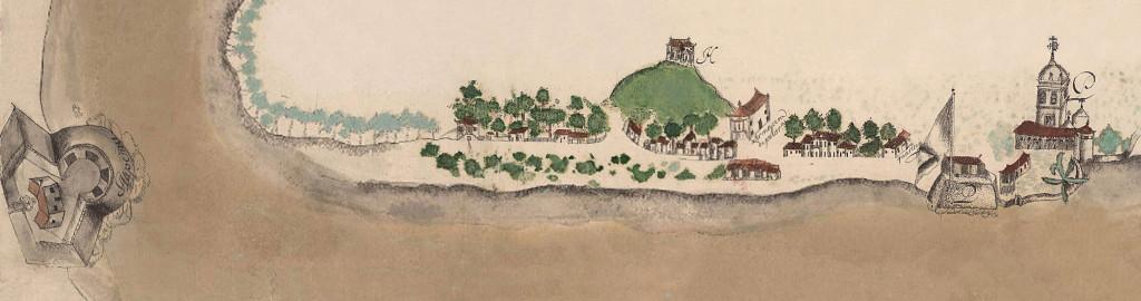 Planta da Vila de Santos no século 18. Nela pode-se notar as fortalezas de Itapema (à esquerda) e o Forte da Vila (um pouco fora do seu verdadeiro local).