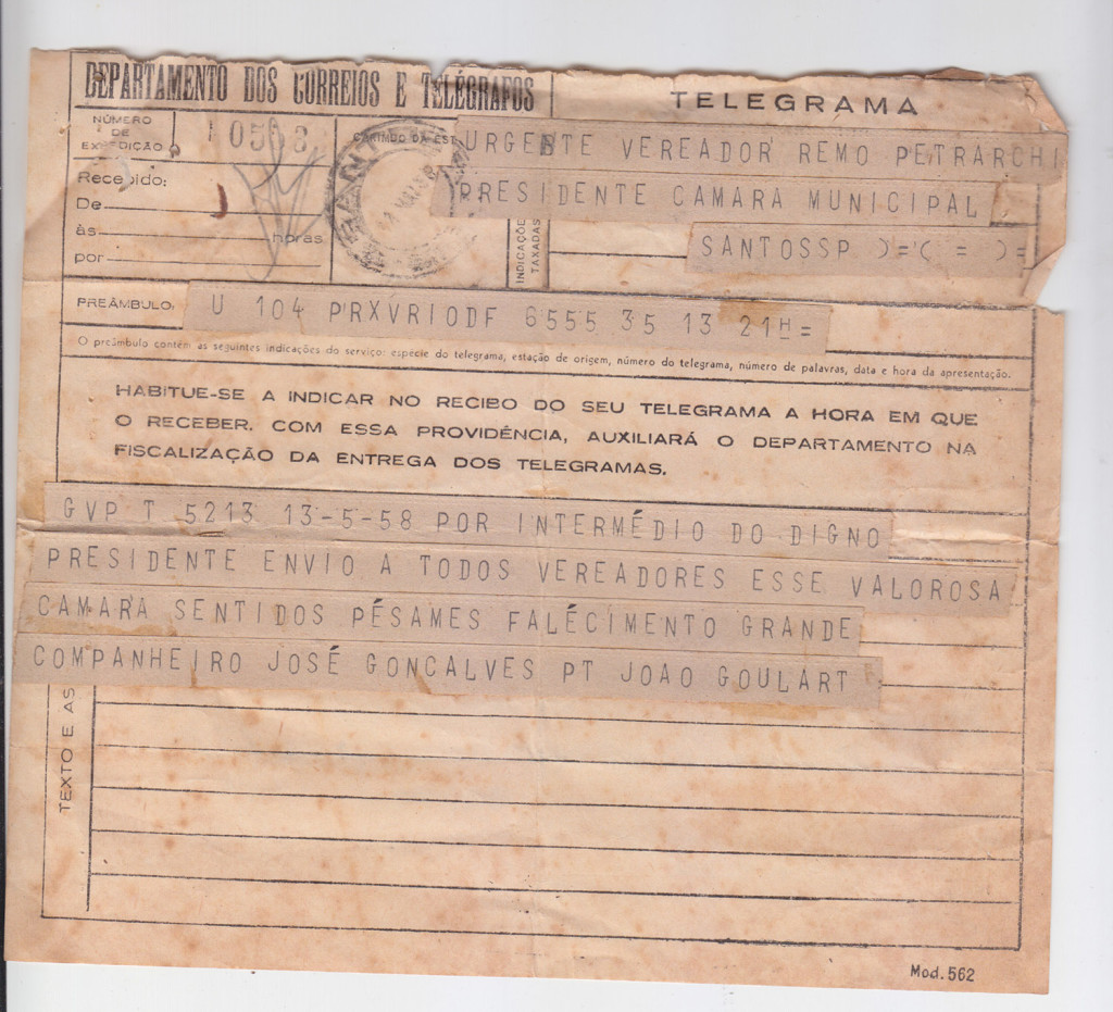 Telegrama de João Goulart endereçado ao presidente da Câmara de Santos.
