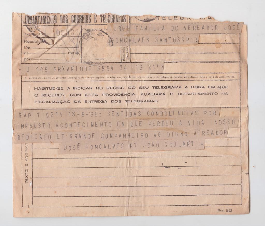 Telegrama de João Goulart endereçado à família de José Gonçalves