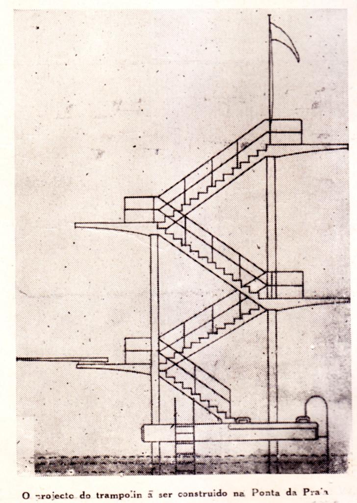O projeto da nova plataforma de saltos ornamentais da Ponta da Praia. Infelizmente, só parte dele foi realmente construído.