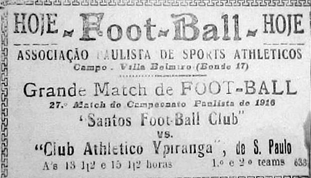 Anúncio no jornal informando o primeiro jogo no campo do Santos.