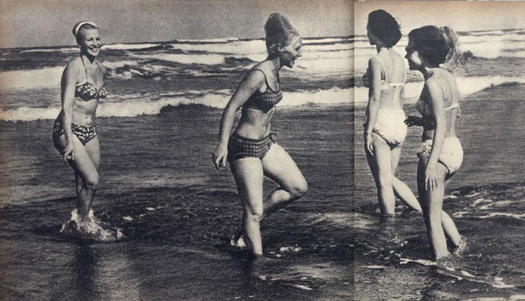 As bailarinas do Beriozka se refrescam nas águas de Santos.