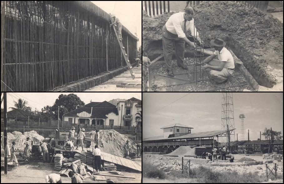 Imagens da construção do Campo do Santos, em 1916.