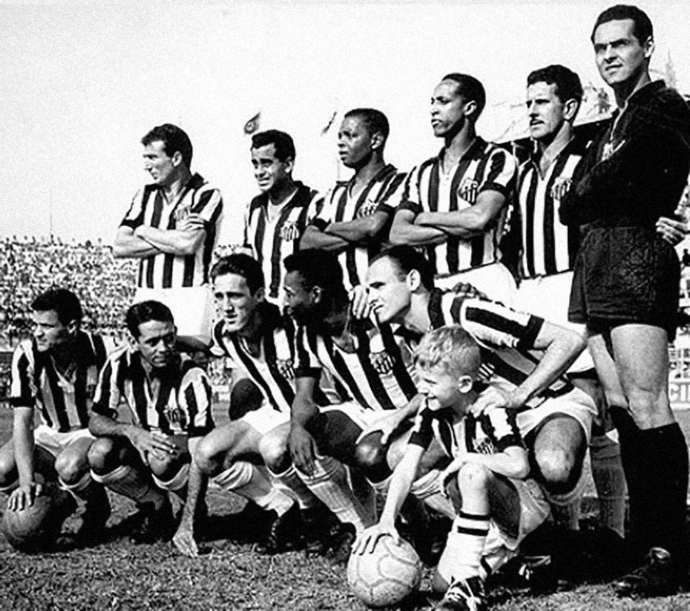 Em pé: Ismael, Zito, Lima, Geraldino, Olavo e Gylmar. Agachados: Peixinho, Gonçalo, Toninho, Pelé e Pepe.