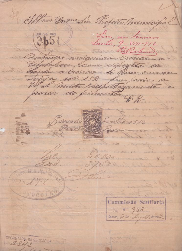 Documento mais antigo a respeito deste casarão. Solicitação para instalação de depósito de lenha e carvão, em 1912.
