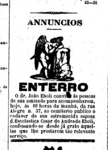 Obituário da esposa, publicado no jornal O Estado de São Paulo.