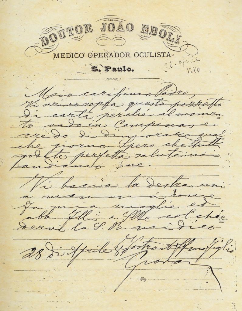 Carta de João Éboli no receituário de sua clínica.