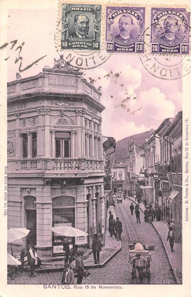 Situada na esquina da Rua XV de Novembro e Frei Gaspar, esta edificação ainda existe. Ela abrigava a Casa Bancária do médico italiano João Éboli.