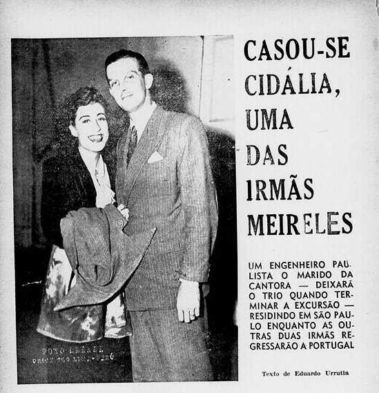 Notícia na Revista da Semana, do Rio de Janeiro, sobre o casamento às escondidas, da cantora Cidália.