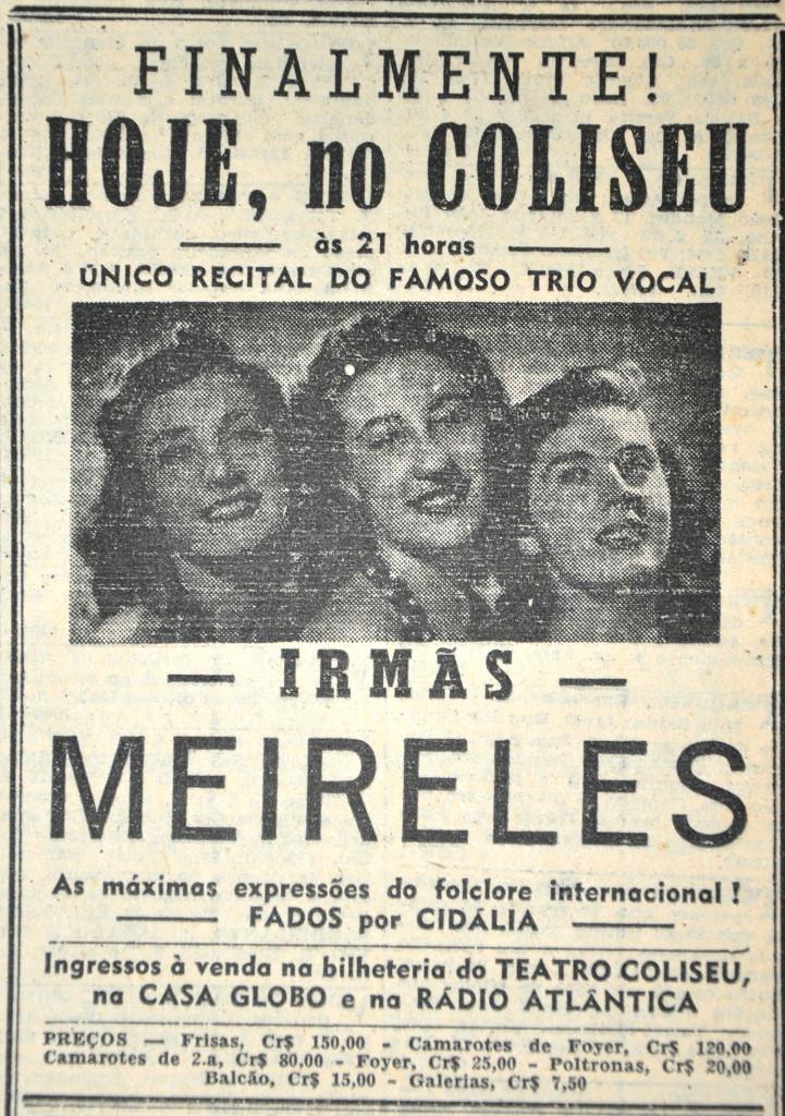 Anúncio do recital das Irmãs Meireles que aconteceria no Teatro Coliseu em 31 de janeiro de 1950, no Jornal A Tribuna