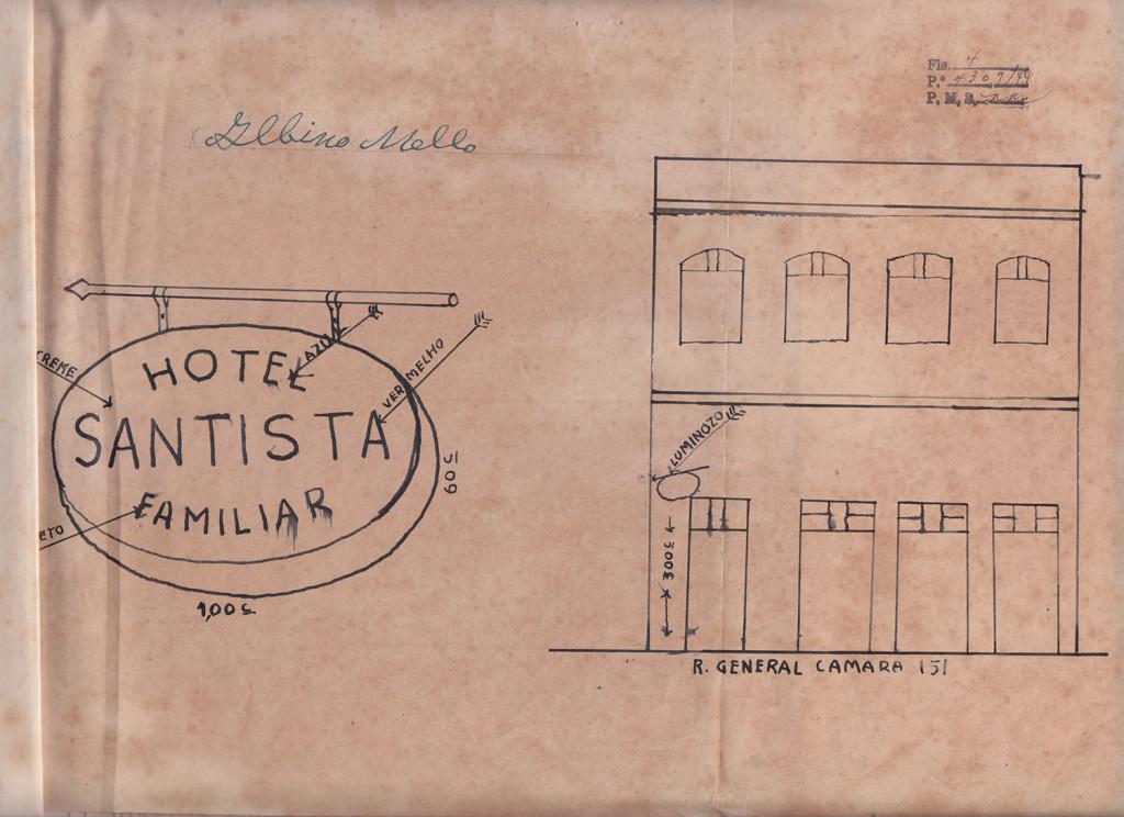 Projeto de Letreiro para o Hotel Familiar Santista, de 1944.